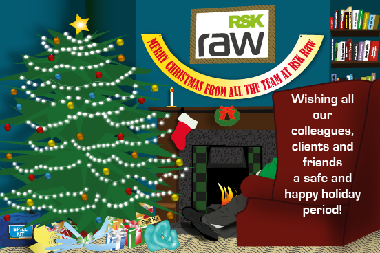 RSK Raw Christmas image featuring a sitting room scene with a Christmas tree.