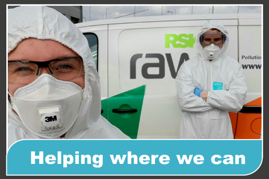 RSK Raw staff help with decontamination during COVID-19 outbreak