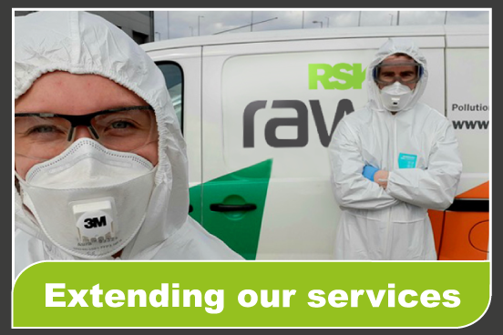 RSK Raw staff decontaminating office and policyholder's homes